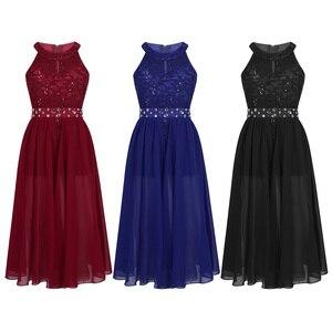 Image 2 - IEFiEL vestido de princesa de tul para niña, bordado de lentejuelas, encaje Floral, flor de Gasa, boda, fiesta de cumpleaños, vestido Formal, 2020
