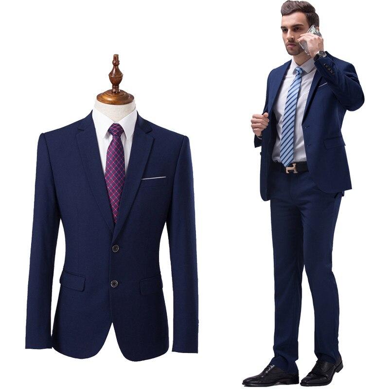 (Chaquetas + Pantalones) 2018 nuevos hombres Boutique de moda de color sólido trajes de boda Formal Mens Casual trajes de negocios chaqueta masculina