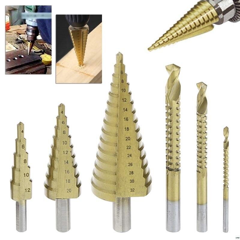 6 Pcs/Set HSS Steel Titanium Coated Step Drill Bit Hole Cutter 4-32mm Metal Tool