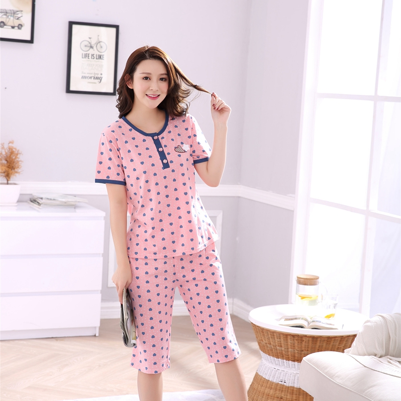 Plus Size Girls Knee Length Cotton   Pajama     Set   for Women 2018 Summer Short Sleeve Pyjama Pijama Loungewear Homewear Home Clothing