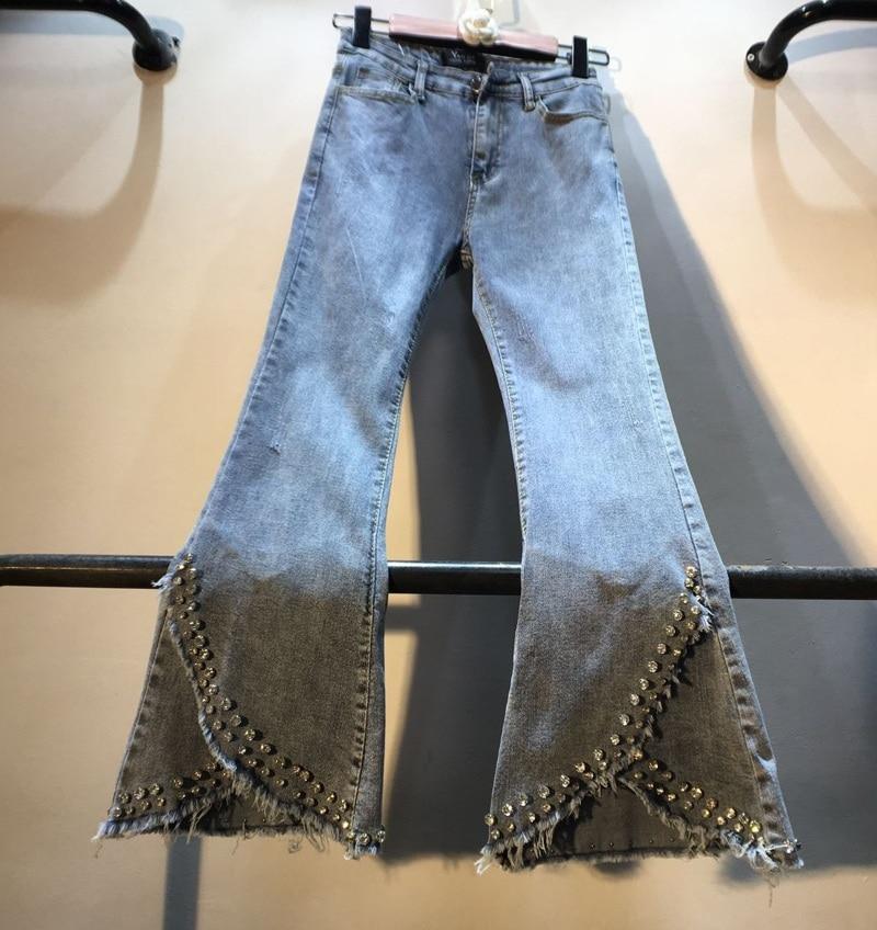 2019 Spring New Denim Trousers Womans Heavy Drilled Beaded Diamond High Waist Slim Nine-point Elastic Horn Jeans Pants Lady