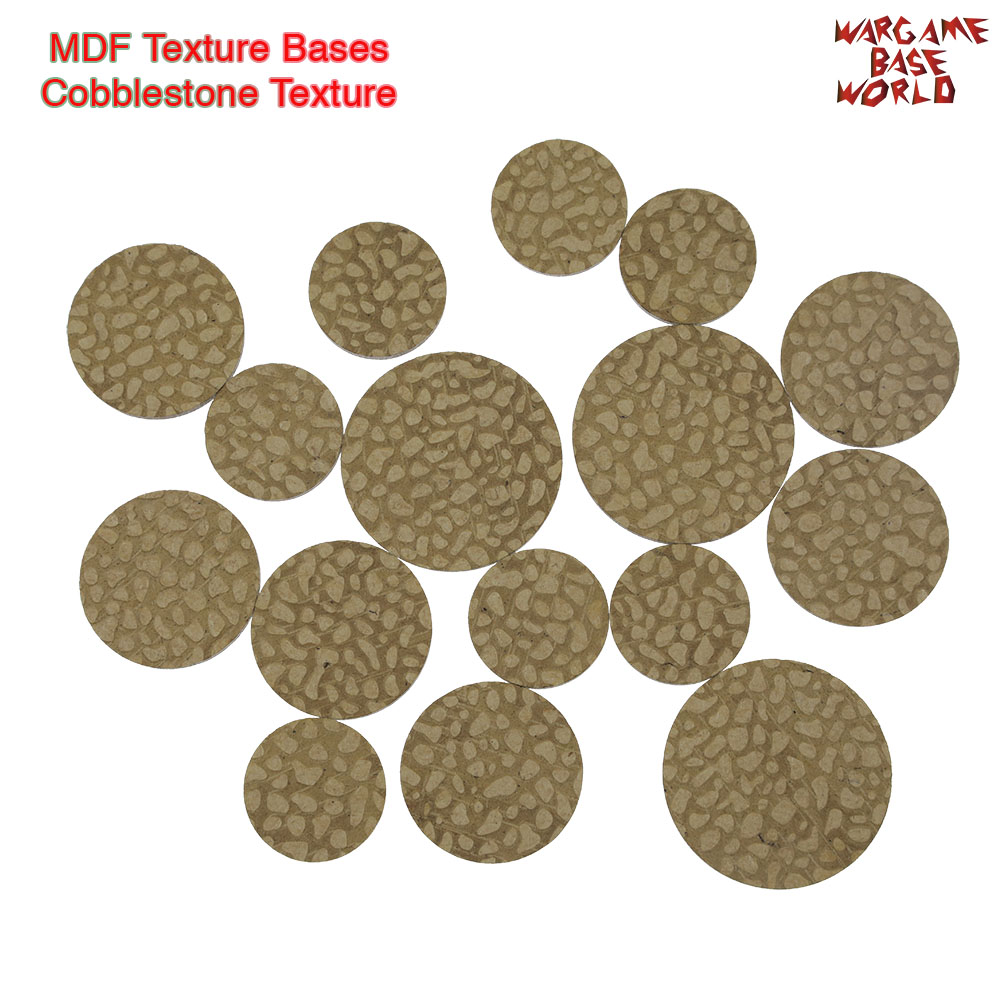 MDF Texture Bases - 25mm - 40mm Cobblestone Bases - Texture Bases