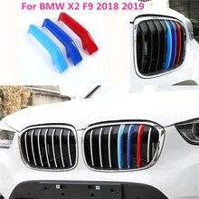 Car Styling Esterno 3D Centrale Anteriore Grill Bar Strisce Sticker Copertura Trim 3 pcs per BMW X2 F39 2018 2019