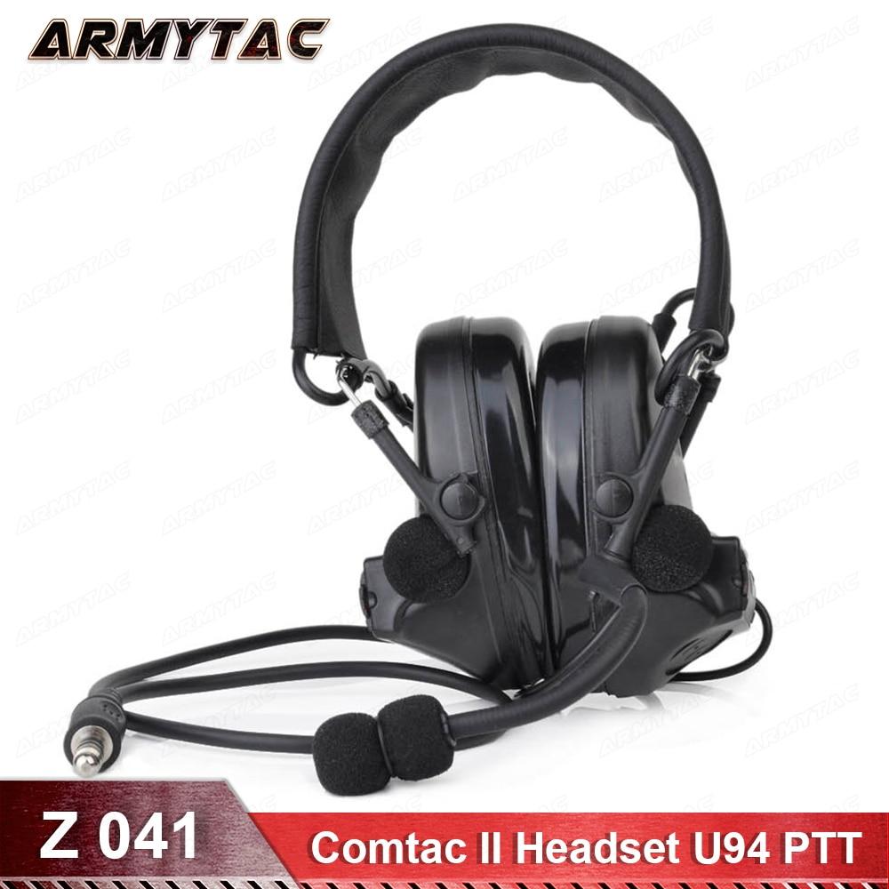 Z-tactique Écouteurs Comtac II Peltor Bruit Annulation Casque Radio Militar Z041 FG Avec Militaire Standard Version U94 PTT