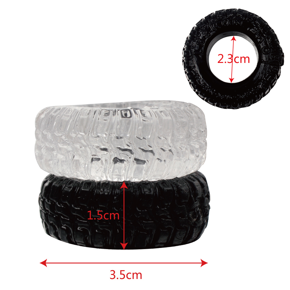 IKOKY 2Pcs/Set Tire Type Silicone Delay Ejaculation Cock Rings Black/Transparent Sex toys for Men Penis Rings Sex Cockring 15