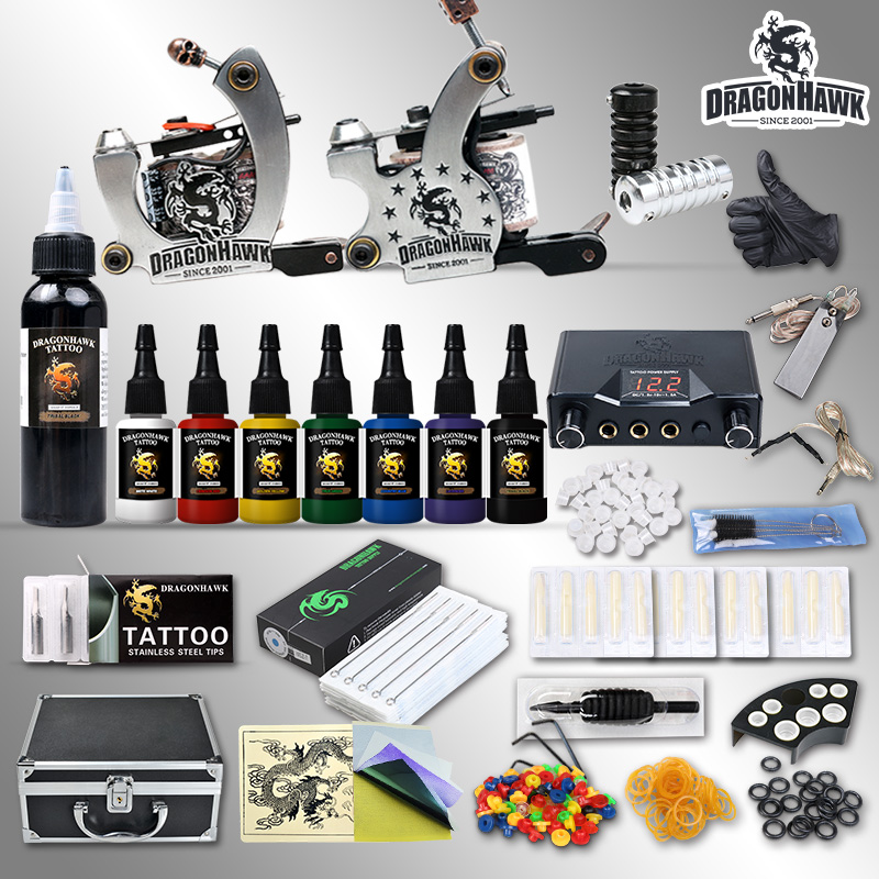 Professional Tattoo Kit 7 color Ink Power Supply 2 Machine Guns professional tattoo kit 5 guns complete machine equipment sets teaching cd ink for beginners body art beauty tools tk 2509 m