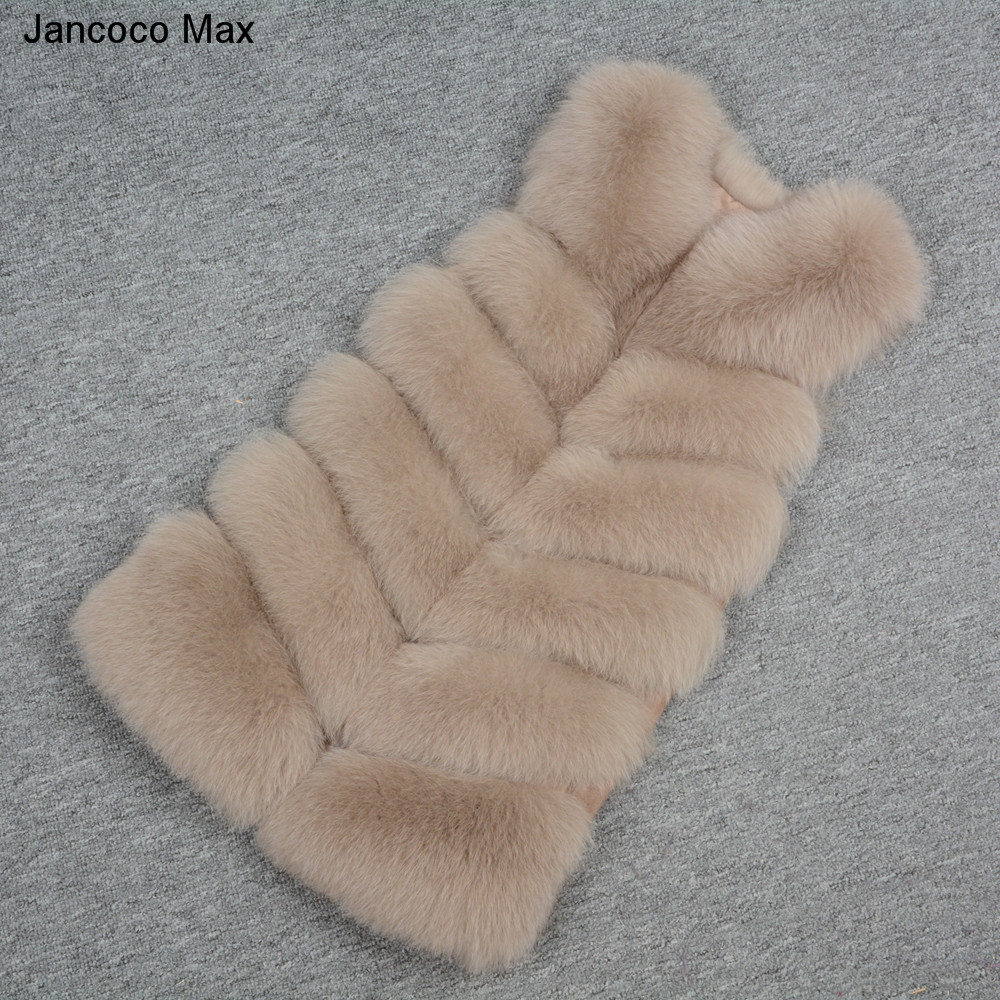 S7167 Long Jancoco Qualité Chaud brown Fourrure De red Décontracté Hiver Nouveau camel Grey Rangées natural Gilet Light Automne 6 Green Réel White Green Doux 2019 khaki Top pink Femmes Grey dark dark Renard Max black rUx0qrH