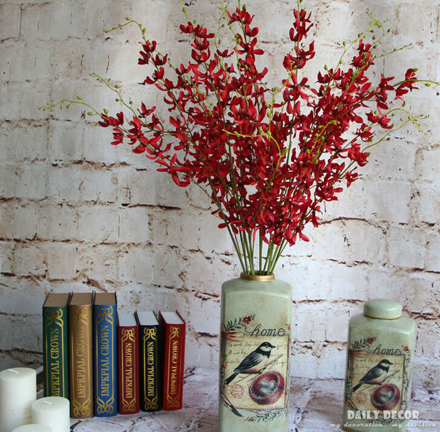 10pcslot 100cm decorative artificial dendrobium silk flowers 100cm decorative artificial dendrobium silk flowers fake 3 fork coral mightylinksfo