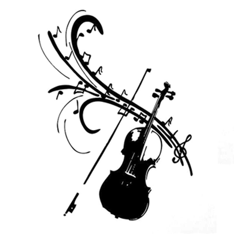 141cm192cm Fashion Violin Music Symbol Decor Blacksilver Car