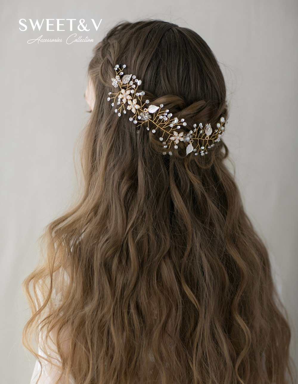 Wedding hair accessories christchurch - Bohemian Rhinestone Pearl Wedding Headband Handmade Flower Hair Vine Band Bridal Hair Accessories Women Tiara Headdress