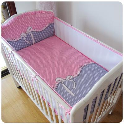 ¡ Promoción! 5 unids malla de algodón bebé niños cuna bedding set cómodo tope del pesebre del bebé organizador ed conjunto, incluye (4 bumpers + hoja)