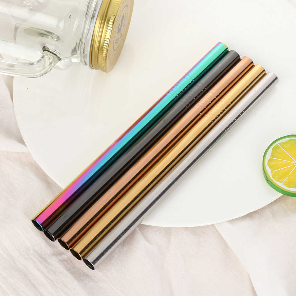 6/12mm*215mm Stainless Steel Drinking Straw Reusable Straight Metal Straws for Fruit Juice Milk Bar Accessories Eco-Friendly