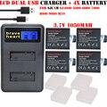 4X3.7 В 1050 мАч bateria SJ4000 Зарядное SJ5000 SJ6000 Wifi + LCD Dual зарядное устройство для SJCAM sj 4000 5000 6000 7000 8000 M10 sj9000