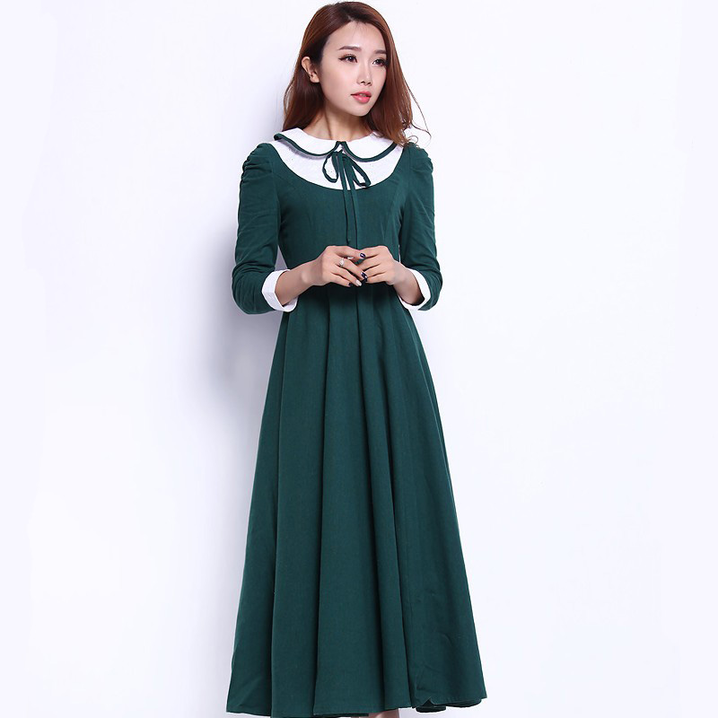 British Korean Japanese School Dress Uniform College Wind Sweet Long Sleeve Green Gown Female Students Performing Uniforms