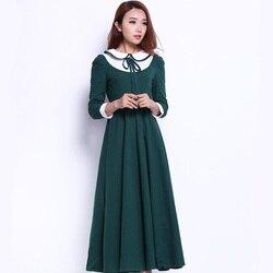 British korean japanese school dress uniform College Wind sweet long sleeve green gown Female Students Performing Uniforms