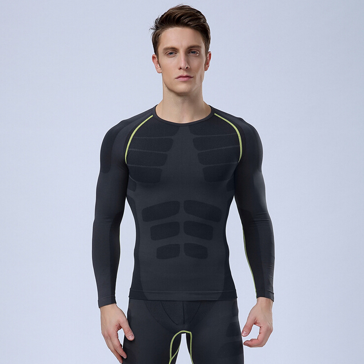Trainning New Bodybuilding Workout Tops Men Long Sleeve Sport Exercising T Shirt Men Thermal Muscle Gym Compression Tights Shirt