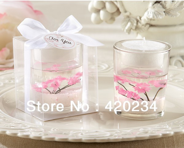 Cherry Blossom Blossom Filled Tea Light Holder Wedding Favors Of
