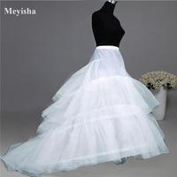 Wedding Dress Crinoline Bridal Petticoat Underskirt 2 Hoops With Chapel Train