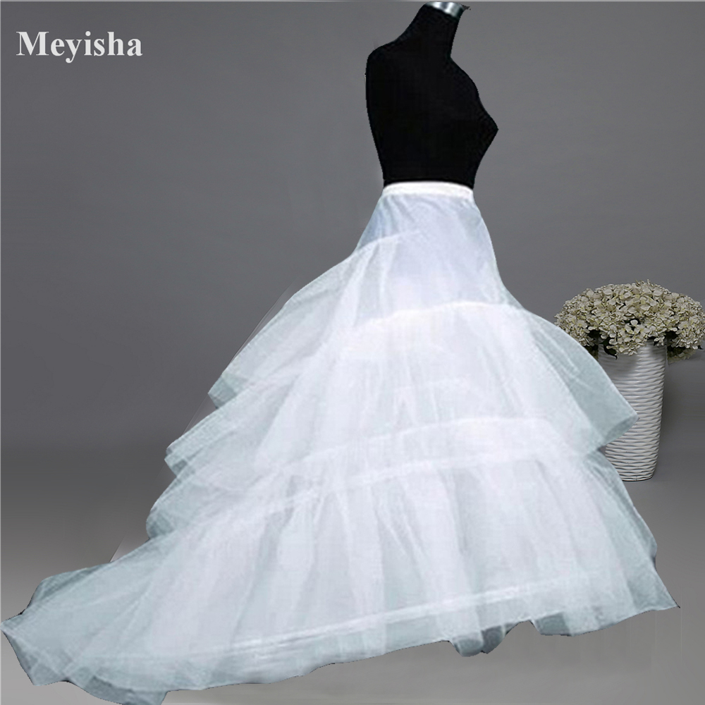ZJ52015 Wedding Dress Crinoline Bridal Petticoat Underskirt 2 Hoops with Chapel Train