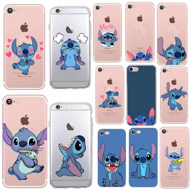 Leuke Cartoon Stitch Phone Case Voor iPhone 6 6 S 7 8 Plus 5 5 S SE X XS Case silicone Soft TPU Cover Voor iPhone 7 plus Gevallen