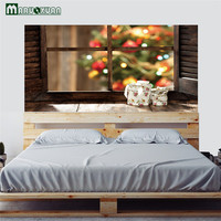 Maruoxuan Creative 3D Christmas Wood Windows Bedside Stickers Bedroom Bedside Decoration Murals PVC Wall Stickers 90