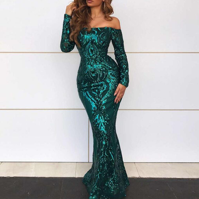 Full Sleeved Elegant Emerald Green Sequined Maxi Dress Padded Long Floor Length Off The Shoulder Slash