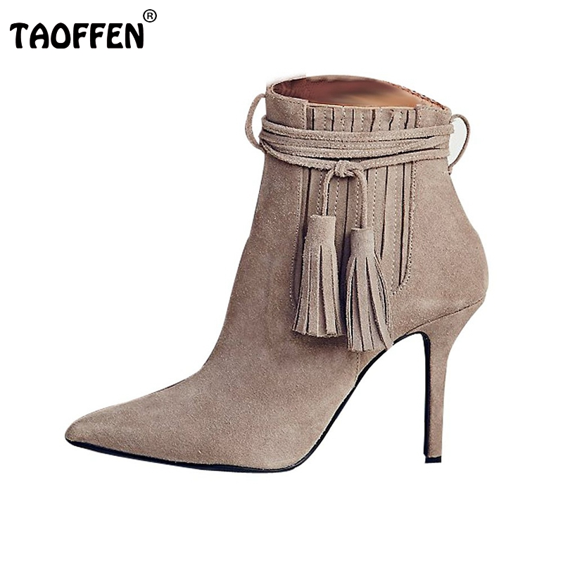 Women Pointed Toe Thin Heel Ankle Boots Woman Fashion Tassel Boots Ladies Brand New Cross Strap Heeled Shoes Size 35-46 B293 new 2017 spring summer women shoes pointed toe high quality brand fashion womens flats ladies plus size 41 sweet flock t179