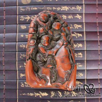 Разработать Китай коллекция старый красный смола 3 детей статуя