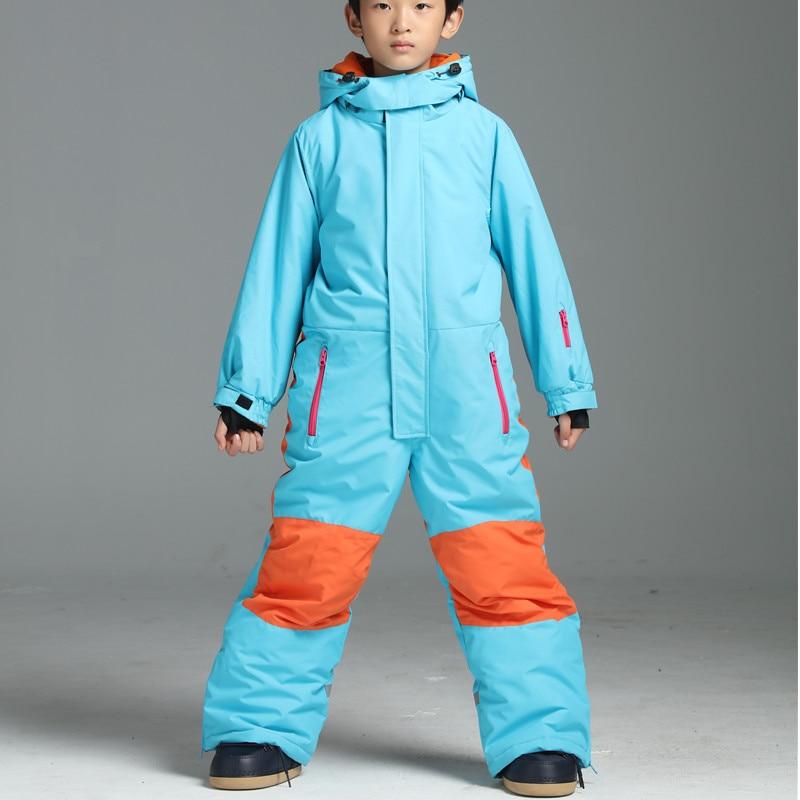 aad2725f86ea Winter Ski Jumpsuit Kids Boys Ski Suit One piece Snowsuit Ski Suits ...