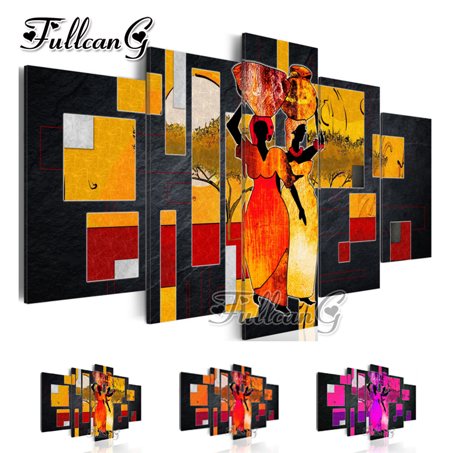 FULLCANG needlework diy 5 pieces diamond painting african woman full square/round drill 5d cross stitch embroidery kits FC103