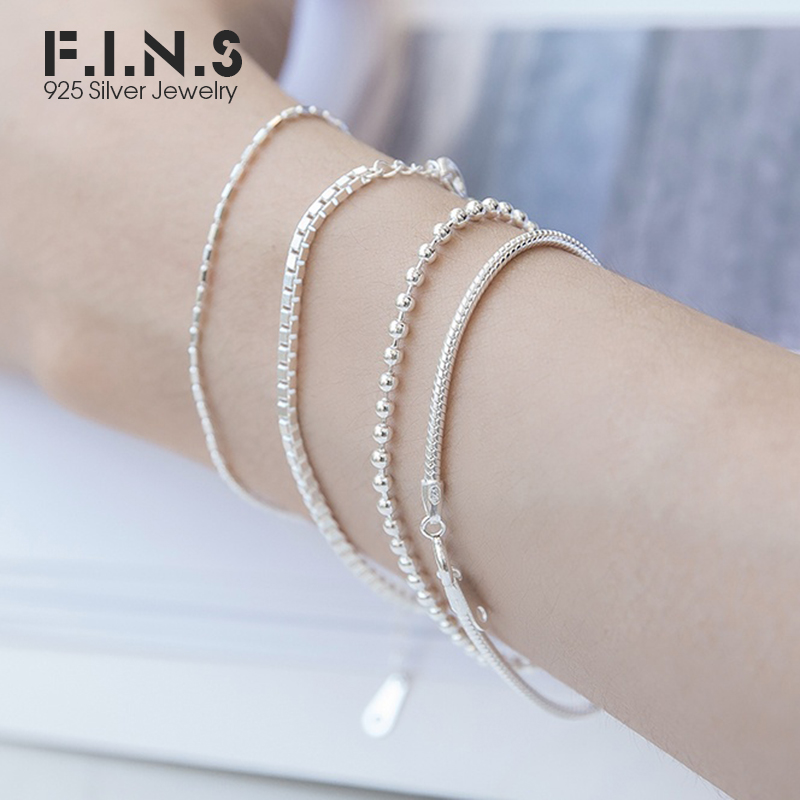 F.I.N.S Korea Hot Style Minimalism 2mm Snake Bone Bead Box Chain Pure 925 Sterling Silver Charm Bracelets For Women Decoration