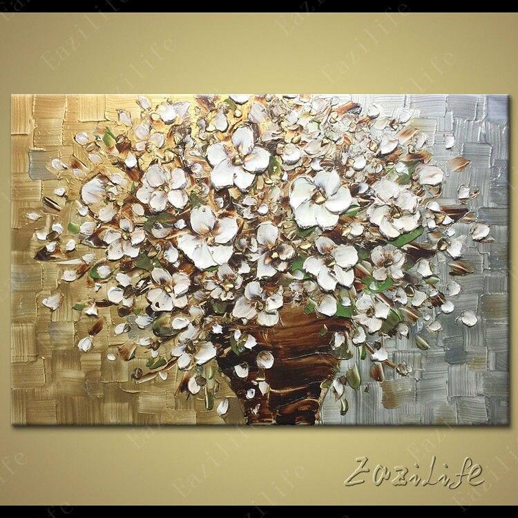 Blume Hand Gemalte Palettenmesser 3D Textur Leinwand Handgemachtes Lgemlde Wandbilder Fr Wohnzimmer Moderne Abstrakte Kunst