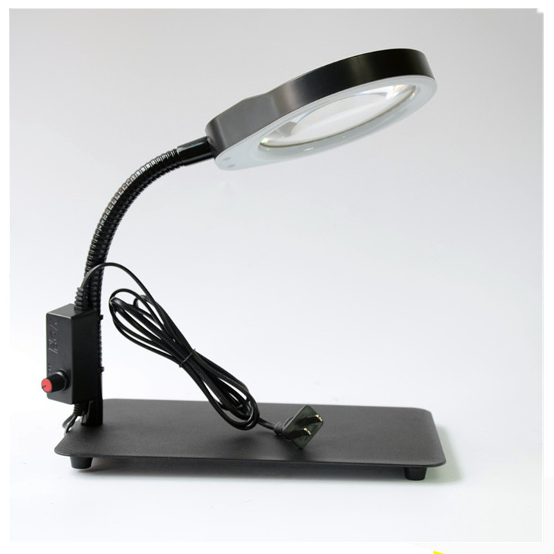 Table Magnifier 8X 125MM Desk Magnifying Glass With LED Lamp Lupa Loupe For Reading Magnifier Glass For iphone Repair цена