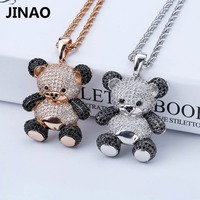 JINAO Pretty AAA Cubic Zirconia Panda Pendant Necklace Women Accessories Necklaces Gold Silver Plated Jewelry Free Shipping