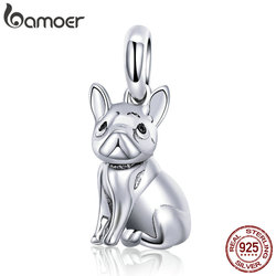 BAMOER New Arrival 925 Sterling Silver Trendy French Bulldog Pendant Charms fit Bracelet Necklace DIY Accessories Jewelry SCC714