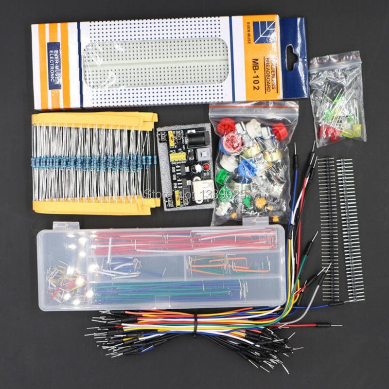 Frete Grátis pacote partes genérico + 3.3 V/5 V módulo de potência + MB-102 830 pontos Placa De Ensaio + 65 cabos flexíveis + caixa de fio jumper