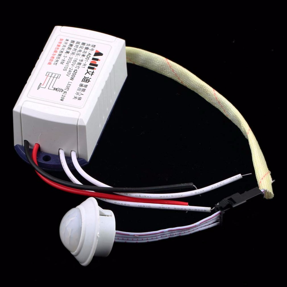 IR Infrared Module Body Sensor Intelligent Light Motion Sensing Switch High Quality 200W 220V Body Switch White Dropshipping infrared ir adjustable body sensor switch module intelligent motion bulb 2016 new h7