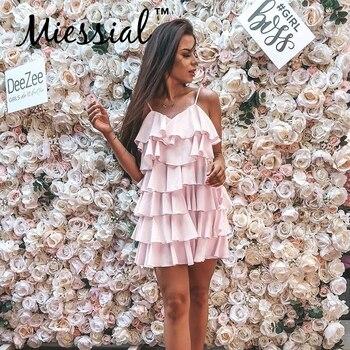 40295562d1 Miessial V cuello volantes Vestido Mujer sin mangas corto mini vestido de verano  elegante playa primavera sexy vestido de fiesta