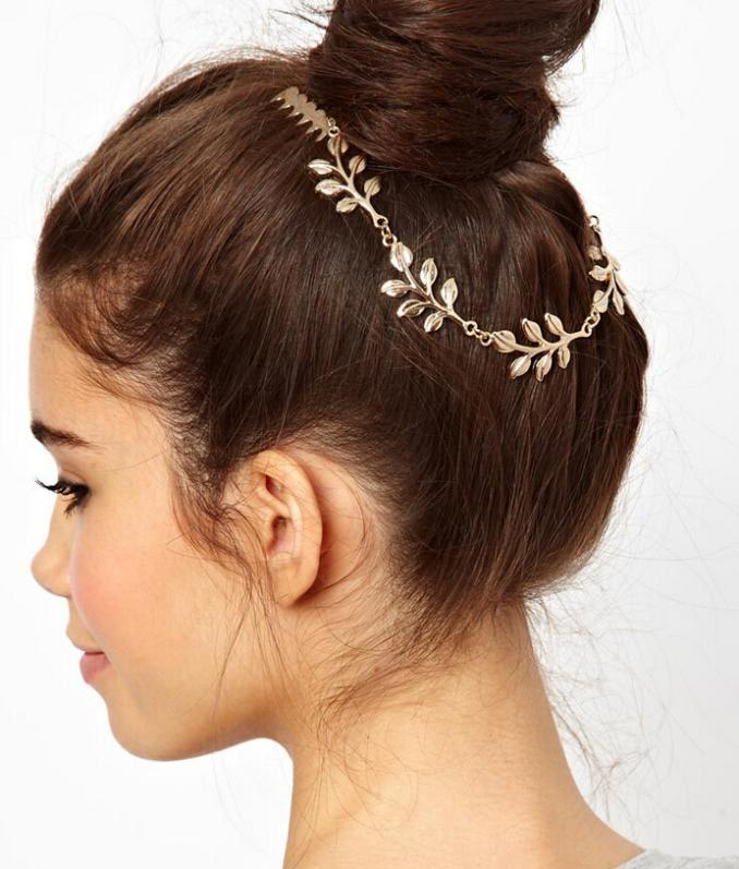 Women Girls tassel golden leaf comb chair clip Chain Hairband Headband Festival Party Wedding Bridal Beach - Gretel Intercontinental Trade Corporation store