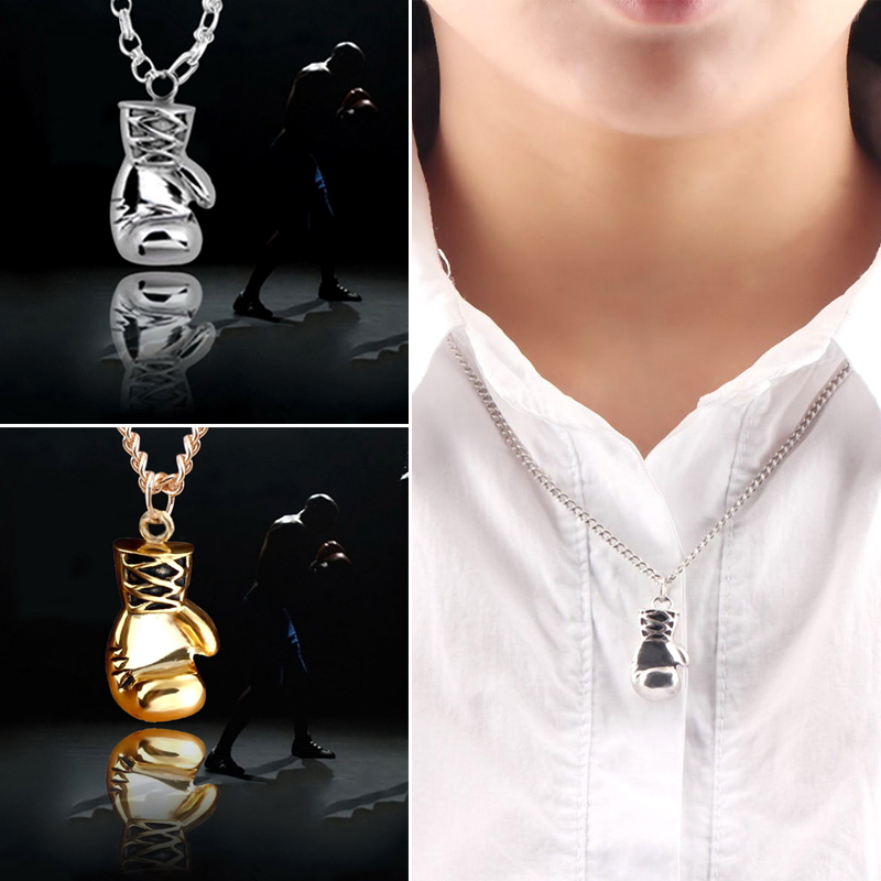Shellhard Boxing Gloves Pendants Necklace Vintage Men Jewelry Accessories Stainless Steel Personality Chain Choker Neaklace
