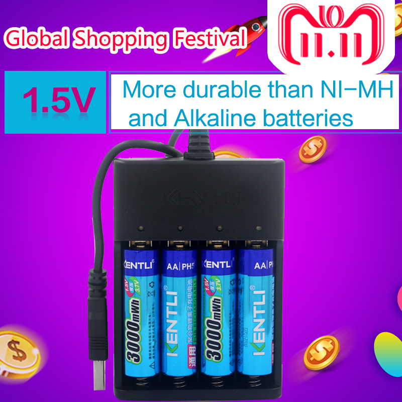 4pcs KENTLI AA 1.5V 3000mWh polymer lithium li-ion rechargeable batteries battery+4 slots USB li-ion battery charger 1pcs ds 982 ds982 semi auto glue dispenser pcb solder paste liquid controller dropper fluid dispenser 110v 220v