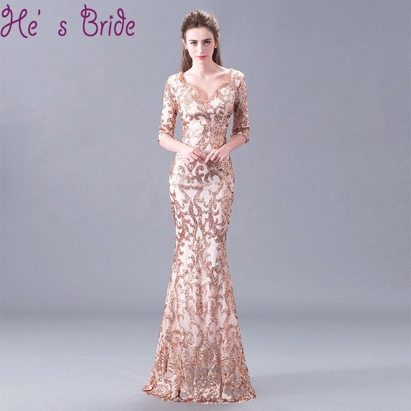 Evening Dress Elegant Gold V Neck Half Sleeves Zipper Back A Line Floor Length Mermaid Tulla Lace Sequines Party Prom Dress