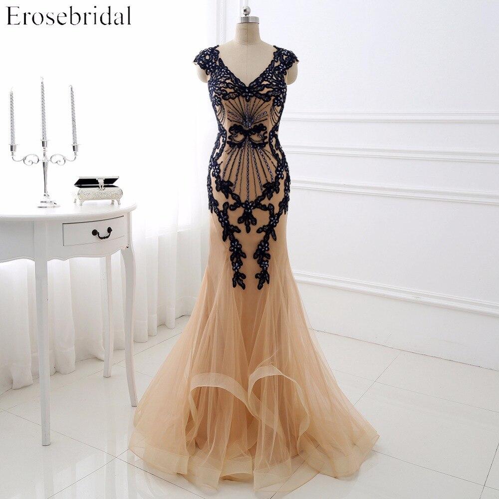 Elegant Champagne   Evening     Dresses   Erosebridal 2018 Navy Appliques Long Mermaid Party   Dress   Beading Bodice Vestido De Festa DLR03