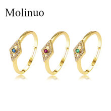 Molinuo New Luxury band ring for women Gold Color paved rhombus cz adjustable size rings trendy classic fashion jewelry 2019