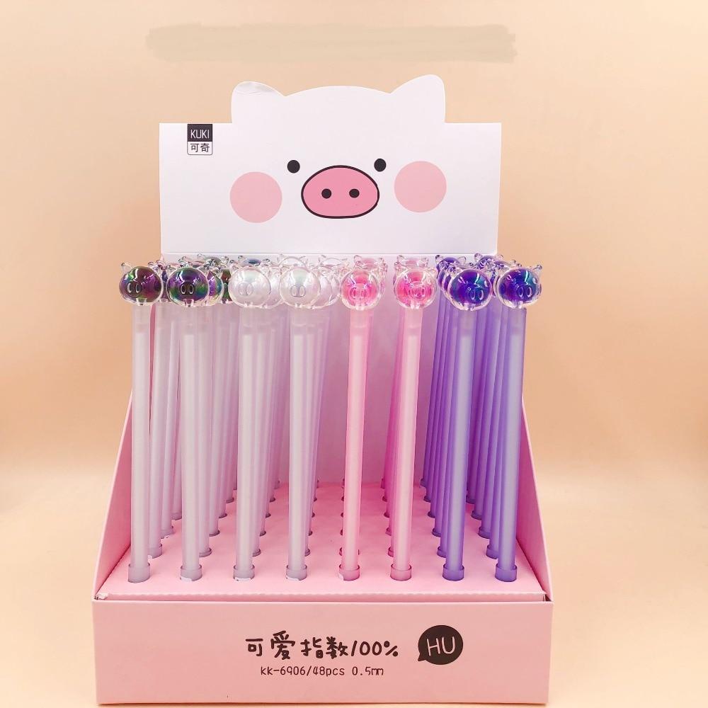48pcs/lot cute cartoon Crystal pig candy color animal gel pen Korea creative water ink pen sign pen school students gift pen-in Gel Pens from Office & School Supplies    1