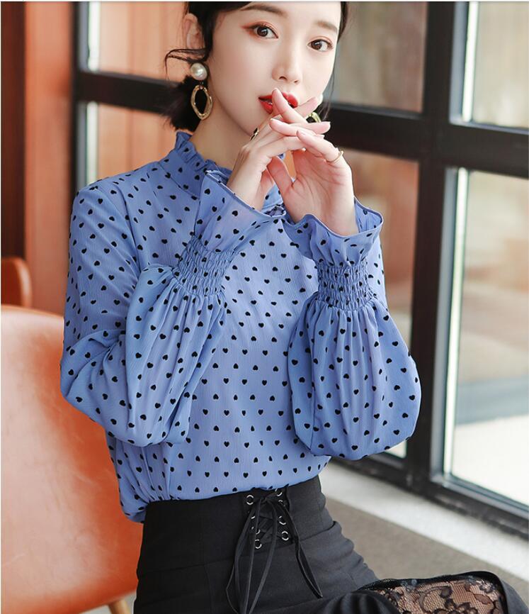 Angleterre Style Blouse hauts nouvelle mode coréenne vêtements à manches longues à volants lanterne manches bleu à pois en mousseline de soie chemise femmes