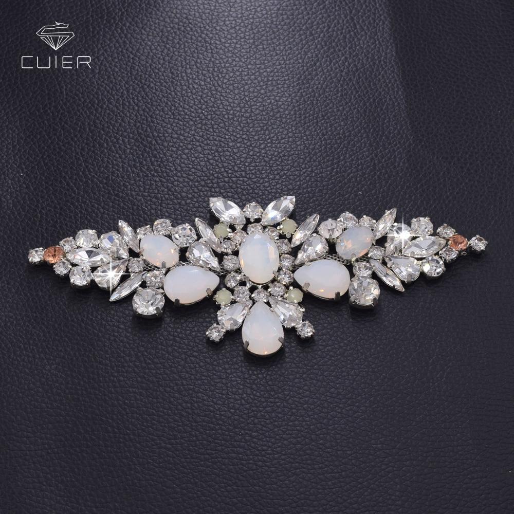 10pcs lot white opal rhinestone Hand beaded sewing silver bridal wedding  belt sash applique patch 8065e7dc3d9e