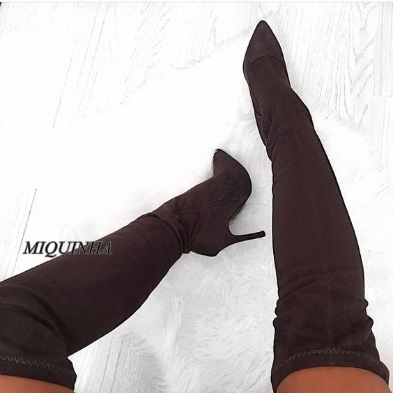 simple fashion wine red over-the-knee women boots suede leather thin high heel zipper pointed toe long boots patchwork footwear hot selling beige grey suede leather over the knee boots pointed high heel side zipper tight high boots women long boots