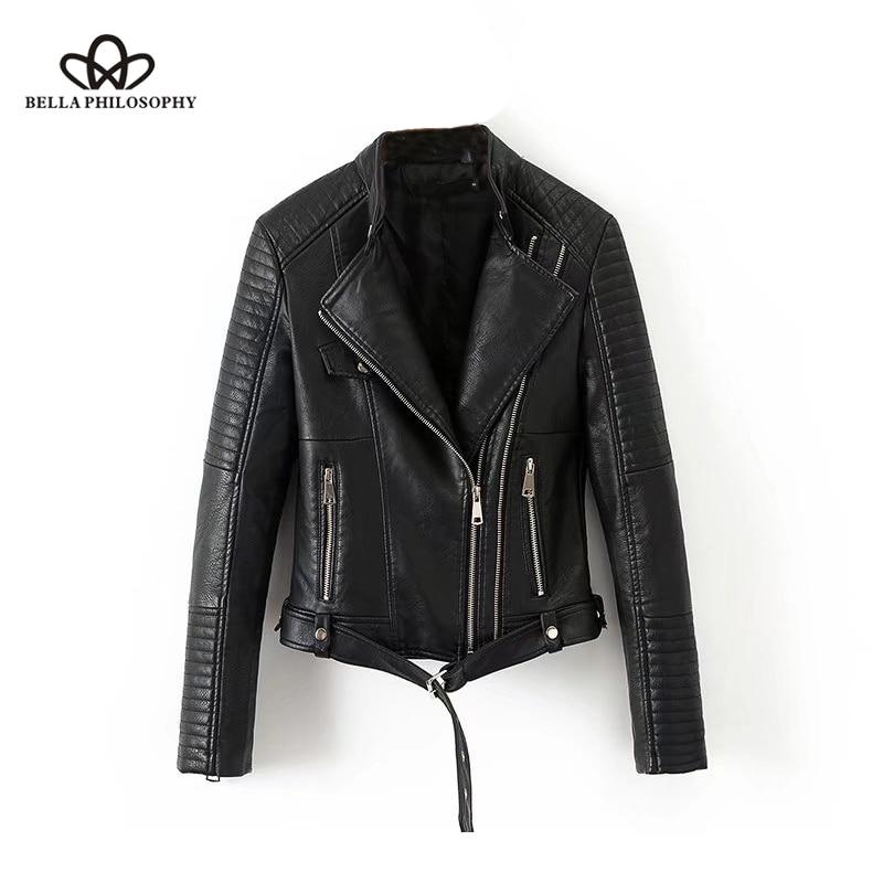 Bella Philosophy 2018 Autumn Winter PU Jacket Coat Women Geometry Zipper Sashes Pocket Basic Jacket Female