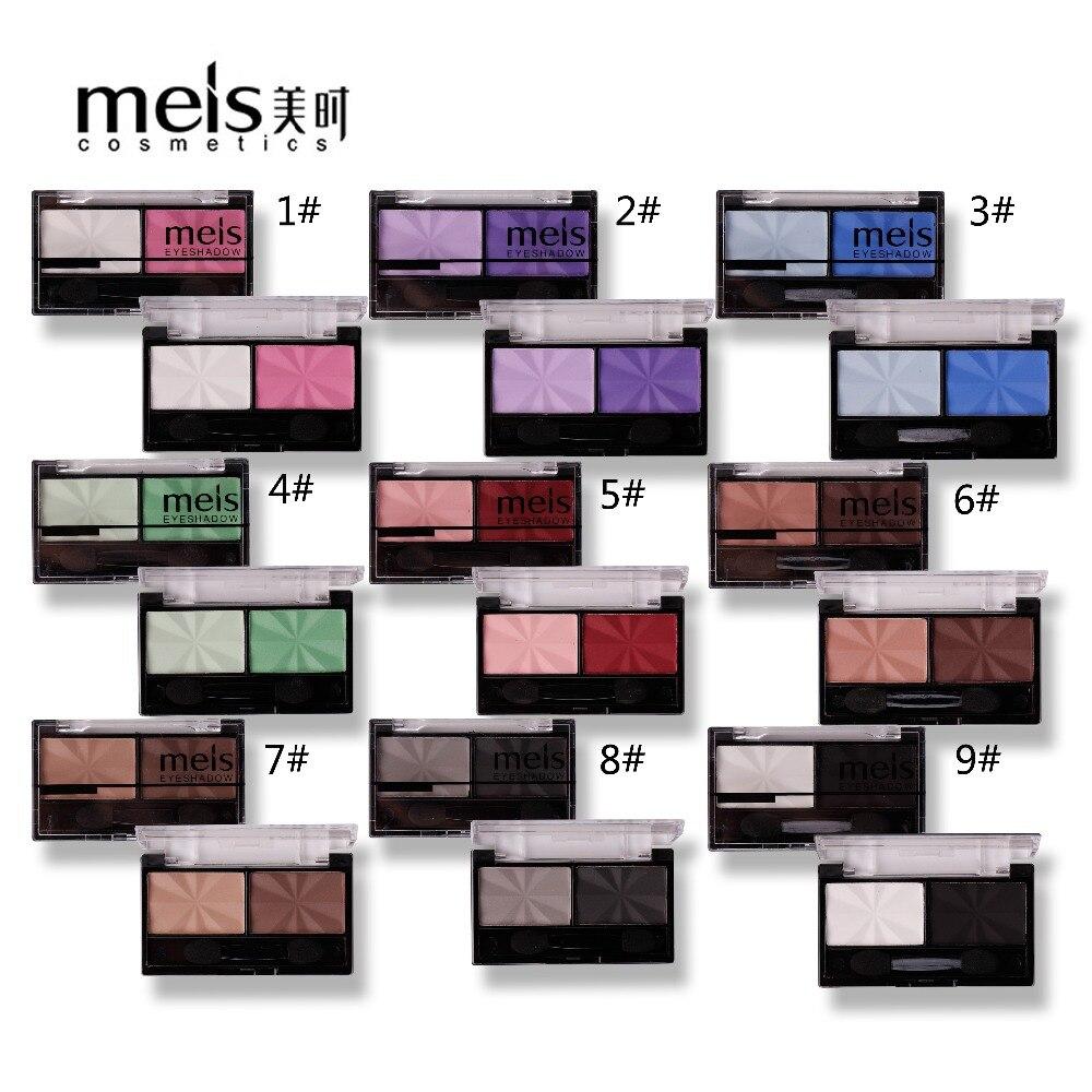 1690b95db02e Meis бренд Макияж Косметика Профессиональный макияж 2 цвета глаз палитра  теней для век матовые тени для век Eye Shadow Palette MS0234E